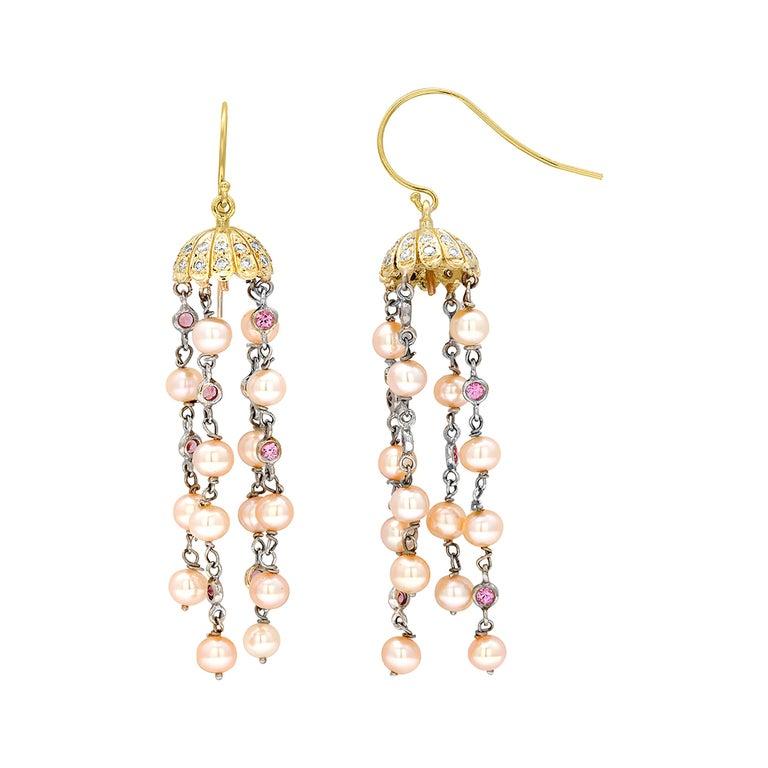 Pave Diamond Petal Cap Hoop Earrings with Freshwater Pearl Dangle Drops For Sale