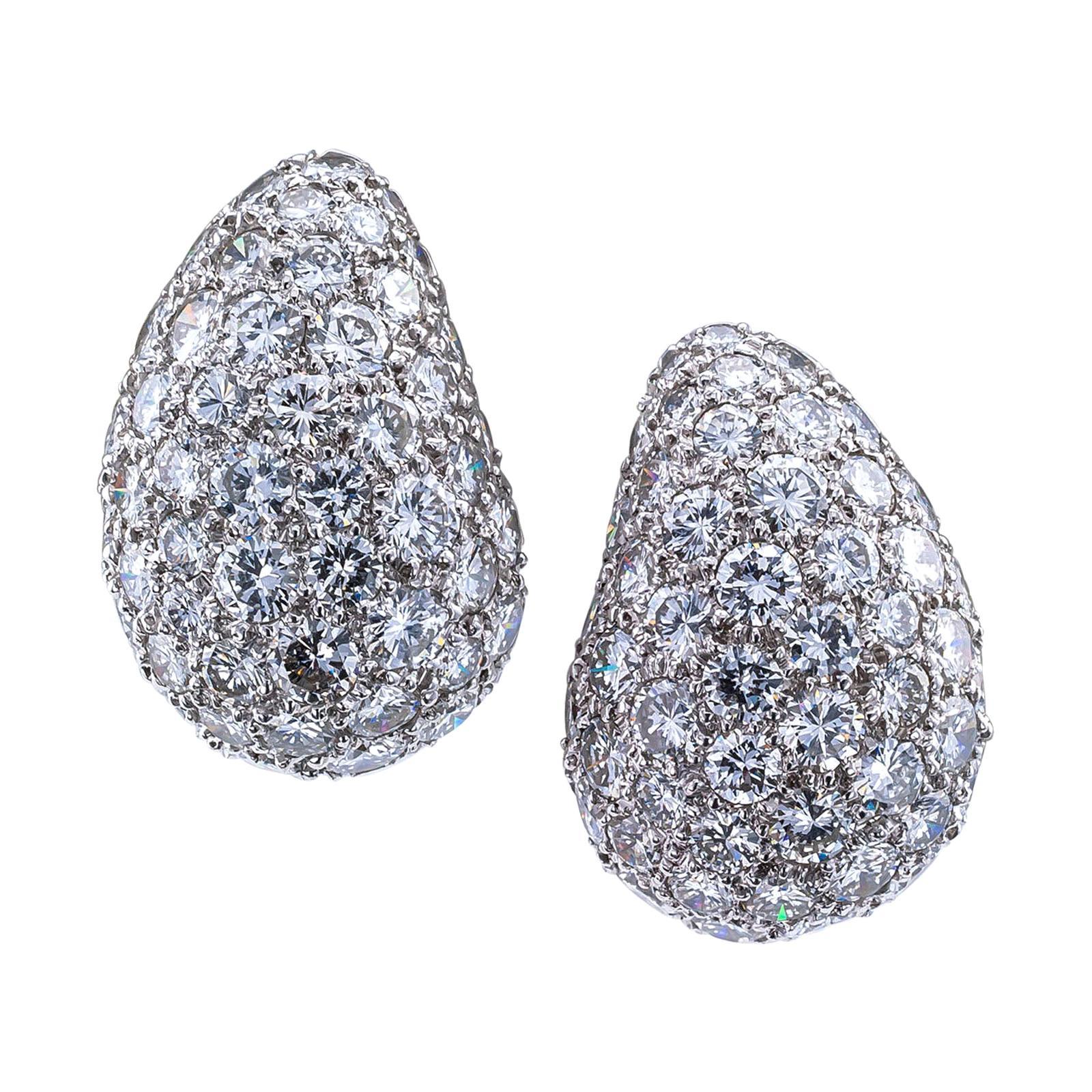Pave Diamond Platinum White Gold Ear Clips