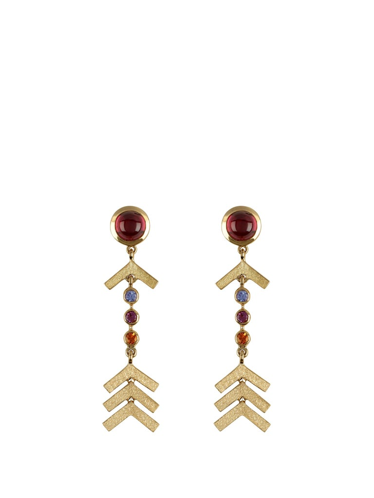 Marlo Laz Pave Diamond, Rhodolite, Tanzanite, Sapph Evening Arrow Earrings In New Condition For Sale In New York, NY