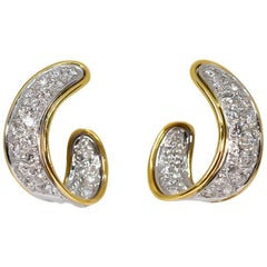 Pave Diamond Ribbon Hoop Earrings 2.01 Carat 18 Karat White and Yellow Gold