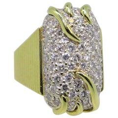 Pave Diamond Ring in 18 Karat Yellow Gold