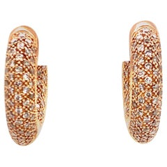 Pave Diamond Rose Gold In and Out Huggie Hoop Earrings