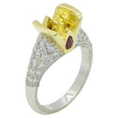 Pave Diamond Ruby Engagement Ring Platinum 18 Karat Yellow Gold Semi-Mount Ring
