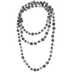 Pavé Diamond Sapphire Tsavorite Ruby Beaded Balls .925 Sterling Silver Necklace