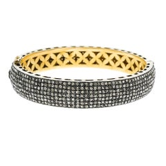 Pave Diamond Silver Vermeil Bangle Bracelet