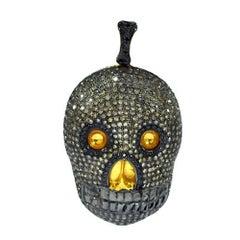 Pave Diamond Skull Pendant in Silver