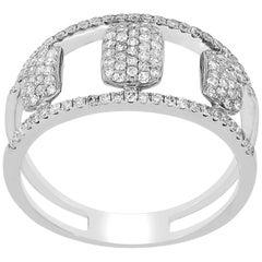 Pave Diamond Split Shank Ring in 14 Karat White Gold