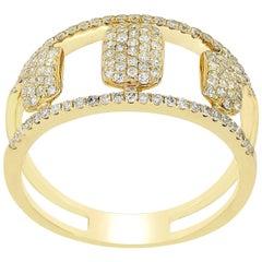 Pave Diamond Split Shank Ring in 14 Karat Yellow Gold