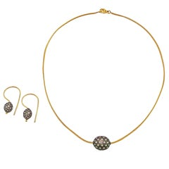 Pavé Diamond Sterling Silver Ball Two-Tone Necklace/ Earring Set
