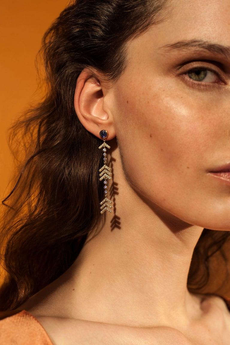 Contemporary Marlo Laz Pave Diamond, Tanzanite, Iolite Long Arrow Evening Statement Earrings For Sale