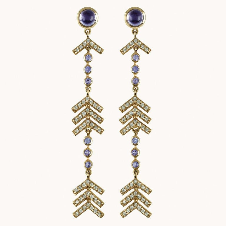 Marlo Laz Pave Diamond, Tanzanite, Iolite Long Arrow Evening Statement Earrings In New Condition For Sale In New York, NY