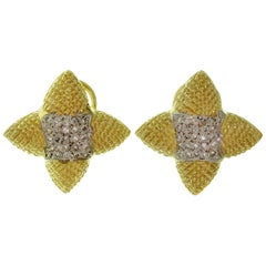 Pave Diamond Textured Yellow Gold Star Earrings