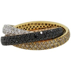 Pave Diamond Three Band Rolling Ring
