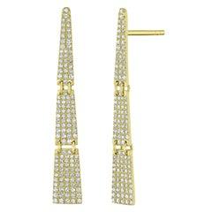 Pave Diamond Triangle Drop Earring in 14 Karat Yellow Gold