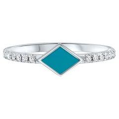 Pave Diamond Turquoise Enamel Rhombus Ring in 14K White Gold, Shlomit Rogel