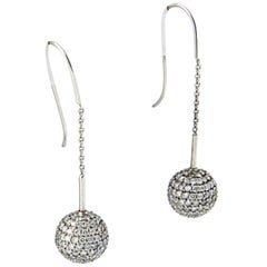 Pavé Diamond White Gold Ball Dangle Drop Earrings