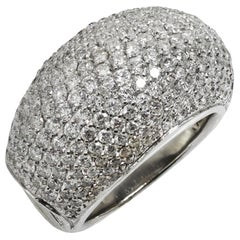 Pave Diamond White Gold Domed Ring