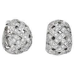 Pavé Diamond Woven Huggie Earclips
