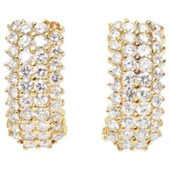 Pavé Diamond Yellow Gold Hoop Huggie Earrings