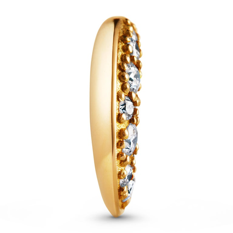 Brilliant Cut Pavé Earrings Traceable Diamond Size M in 18k Yellow Gold by Rocks for Life For Sale