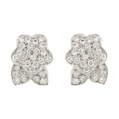 Pave Flower and Leaf Diamond Platinum Earrings