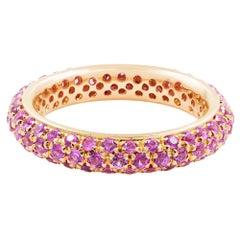Pave Pink Sapphire 18 Karat Yellow Gold Ladies Ring