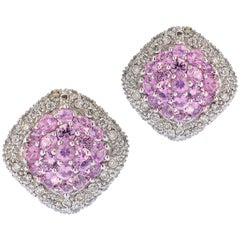 Pave Pink Sapphire Clip-On Earrings