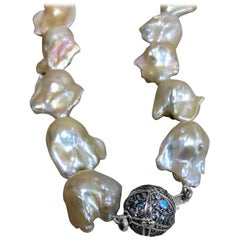 Stephen Dweck Pave Rainbow Moonstone & Natural Baroque Pearl Necklace