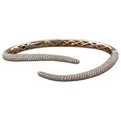Pave Round Diamond Tail Cuff Bracelet 18 Karat Rose Gold
