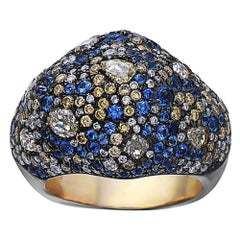 Pave Sapphire and Diamond Ring in Gold and Silver