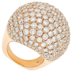 Pave Set Diamond Bombe Cocktail Ring