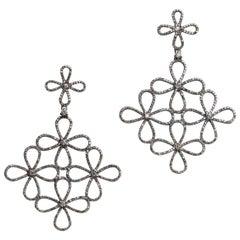 Pave`-Set Diamond Chandelier Dangle Earrings