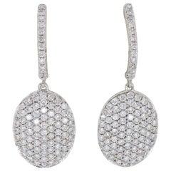 Pavé Set Diamond Dangle Earrings in 18 Karat White Gold