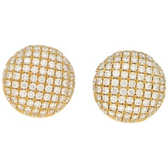 Diamond Domed Button Earrings Set in 18k Yellow Gold