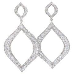 Pavé Set Diamond Drop Earrings in 18 Karat White Gold