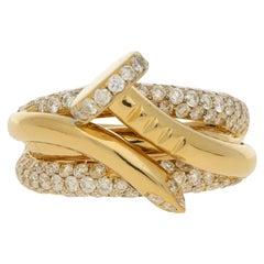 Pave Set Diamond Nail Ring in 18 Carat Yellow Gold 1.97 Carat