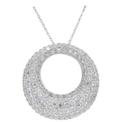 Pave Set Diamond Open Circle Necklace