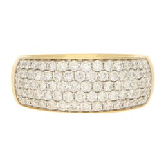 Pave Set Diamond Ring in 18 Carat Yellow Gold 1.10ct
