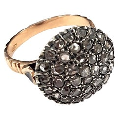 Pavé-Set Diamond Ring in 925 Silver and 9 Karat Gold Made with Ancient Technique