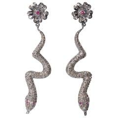 Pavé-Set of Diamond Snake Earrings with Flower Post
