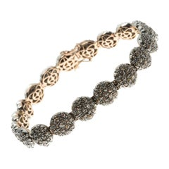 Pavé-Set Diamond Tennis Bracelet in Silver & Gold in Ancient Technique