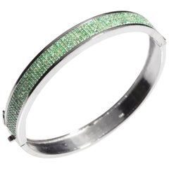 Pavé Set Emerald and Sterling Silver Bangle