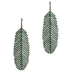 Pave`-Set Emerald Feather Dangle Chandelier Earrings