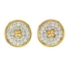 Pave Set of Diamond Button Earrings