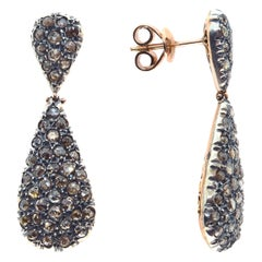 Pavé-Set Pear-Shaped Diamond Earrings in Silver and Rose Gold in Ancient Method
