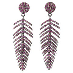 Pave-Set Ruby and Diamond Feather Dangle Earrings