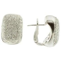 Pavé-Set White Diamond and 18 Karat White Gold Earrings