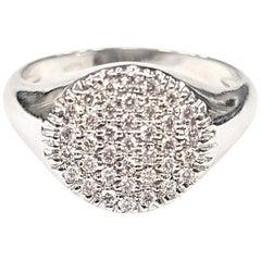 Pavé-Set White Diamond Signet Ring in 18 Karat White Gold