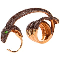 Pave Snake Two Finger Statement Ring Vermeil Gold