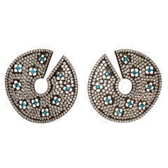 Pave Statement Disk Earrings with Lever Back- Grey